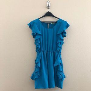 Womens Large Blue Flutter Sleeve Ruffle Dress